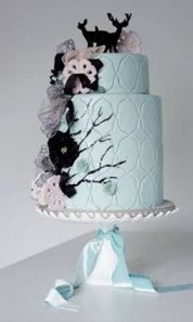 """Blue """"Enchanted Forest"""" Animal Cake by Opera Cakes  This was one the cakes I wanted for my wedding :/   i LOVE it!"""