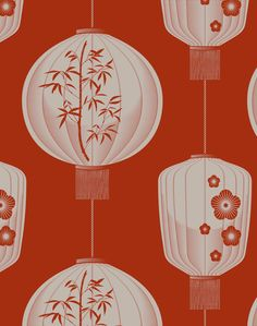 Lucky Lantern, Harvest Orange – The Pattern Collective Chinese Background, Orange Background, Lantern Drawing, Chinese New Year Design, Chinese Element, New Year Designs, Chinese Lanterns, China Art, Chinese Culture
