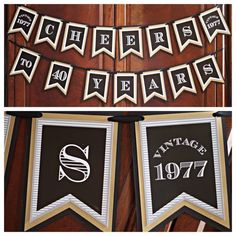 """40th Birthday """"Cheers to 40 Years"""" banner.  Masculine and Modern 40th birthday Party Decorations.  Vintage 1977.  Black / Gold.  Any Age. by CharmingTouchParties on Etsy"""
