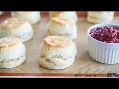 These Fluffy English Style Scones are light and bake up super tall. Spread them with jam and clotted cream, or butter, for a delicious breakfast or afternoon tea treat! English Scones, English Food, English Style, British Scones, Clotted Cream, Jam Recipes, Baking Recipes, Strawberry Jam Recipe, Brunch