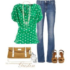 Love the shirt!  green dots, created by stacy-gustin on Polyvore by leah