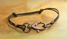 Copper and Leather Unisex  Bracelet  Boho  by AllowingArtDesigns, $18.00