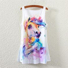 b17348ba69 Watercolor Horse Sleeveless T-shirt. Graphic Tank TopsSummer Tank TopsHorse  PrintWhite TopsCheap ...