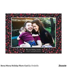 Berry Merry Holiday Photo Card Send modern, stylish holiday greetings with these colorful photo cards by Orabella Prints! Invitations, greetings and products for Christmas / the holiday season. Merry Christmas Photos, Christmas Photo Cards, Holiday Photos, Christmas Holidays, Happy Holidays, Modern Christmas, Holiday Greeting Cards, Holiday Wishes, Valentine Day Cards