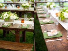 Napkins under favor (potted plants/herbs?), silver on either side
