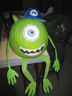 Mike Wazowski pumpkin… Pumpkin craving/painting contest for Fall festival... They bring their pumpkins from home o be voted on.