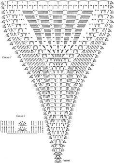 GRAFICO SAIA Crochet Lingerie, Crochet Bra, Crochet Bikini Pattern, Crochet Skirts, Crochet Diagram, Crochet Blouse, Crochet Chart, Irish Crochet, Crochet Doilies
