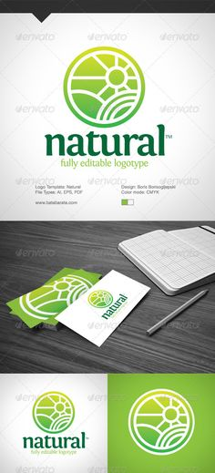 Natural Logo TemplateFully Editabile Vector Logo AI,EPS 10 & PDF files included 100 Resizable CMYKPrint Ready Free font used