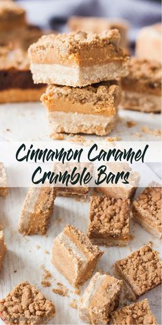 Who doesn& love caramel? Combined with cinnamon, a shortbread base and a crumble topping, these Cinnamon Caramel Crumble Bars are irresistible. Coconut Recipes, Healthy Dessert Recipes, Gourmet Recipes, Baking Recipes, Delicious Desserts, Bar Recipes, Desert Recipes, Recipies, Cinnamon Recipes