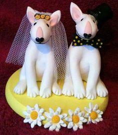 Bull Terrier Wedding Cake Topper By Tinylovetoppers  http://www.tinylove-wedding-cake-toppers.co.uk/