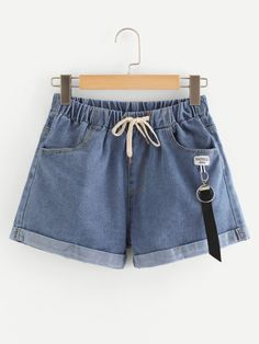 Shop Tie Waist Denim Shorts at ROMWE, discover more fashion styles online. Cute Comfy Outfits, Cute Summer Outfits, Short Outfits, Trendy Outfits, Cool Outfits, Jeans For Short Women, Pants For Women, Short Jeans, Jeans Women