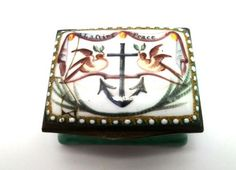 RARE 18TH CENTURY BILSTON ENAMEL PATCH BOX WITH MARITIME INTEREST c1780