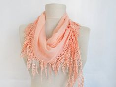Cotton scarves Cowl with Lace Edgeasuhan  woman scarves by asuhan, $15.00