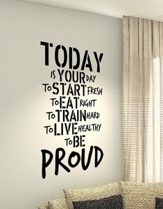 Today Train Hard Eat Workout Motivational Fitness Gym Life workout Quote wall vinyl decals stickers DIY Art Decor Bedroom Home Happiness