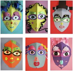 The Rolling Artroom: Crazy Paper Faces 1st-3rd Grade