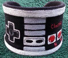 Hand Painted Cuff NES Game Controller Custom Geek Jewelry Wrist Cuff Nerdy Accessories Nintendo Controller Retro Gaming Gamer Gift Ideas