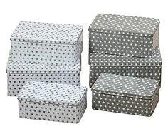 6 Boîtes de rangement STARS - gris et blanc