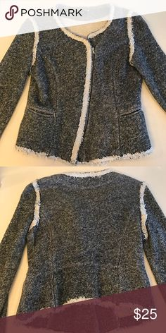 Sweater Gray and white zip up blazer. Hardly worn. Soft and comfy! Jackets & Coats Blazers