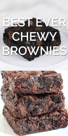 Best Ever Chewy Brownies - Chewy Candy - Ideas of Chewy Candy - The BEST EVER Chewy Brownies are just as fudgey as the boxed brownies but packed with way more from-scratch chocolate flavor. Easy homemade one bowl recipe made in less than 1 hour! Chewy Brownies, Beste Brownies, Brownie Cookies, Chocolate Brownies, Chocolate Flavors, Boxed Brownies, Chocolate Recipes, Chocolate Chocolate, How To Bake Brownies