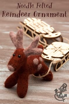 DIY Needle Felted Reindeer Ornament