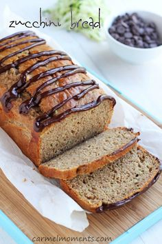 Zucchini bread with chocolate glaze.  This bread is healthy and delicious!