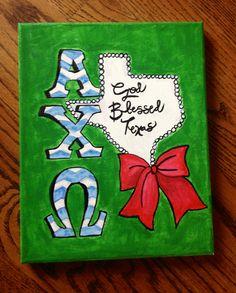 "My ""God Blessed Texas"" canvas craft | Texas Alpha Chi Omega"