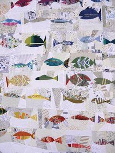 Ocean of fish quilt - great idea ! Quilt Baby, Boy Quilts, Scrappy Quilts, Patchwork Quilting, Star Quilts, Fish Quilt Pattern, Vogel Quilt, Low Volume Quilt, Nautical Quilt