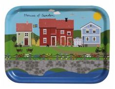 Houses of Sweden tray Swedish Kitchen, Sweden House, Serving Tray Wood, Birch, Lunch Box, Houses, Feathers, Nest, Design