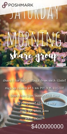 """Saturday Morning Early Girly Share Group Sign Up Grab some coffee and Let's get this started!   NEW MEMBERS sign in with """"new"""" beside your name, share first & THEN others will share you. This is only to cut down on the amount of moochers who sign up & do not share. Feel free to come back for new members AFTER they have shared you  Sign in by tagging your name  Share 8 listings from each closet  Like this listing so you can find it!  No comments until after sign up closes  PLEASE don't sign…"""