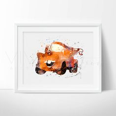 Mater Tow Watercolor Art Poster Print, Disney Cars Movie, Baby Nursery Art, Kids Room Decor, Digital Watercolor Art, Gift, Archival Fine Art Print