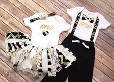 Matching Boy & Girl Twin First Birthday Outfits // Gold, Black and White // by FlyAwayJo on Etsy // Fast shipping! Buy them now!