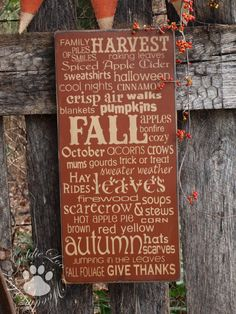 Autumn Word Art, Wood Wall Sign, Subway Art,Typography, Primitve Wall Sign, Fall. $33.00, via Etsy.