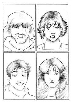 Desenho de expressões feito a lápis 6B