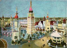 Court of Fountains, Luna Park, Coney Island, N. Coney Island Amusement Park, Amusement Parks, South London, Taj Mahal, Brooklyn, New York, Explore, History, Travel