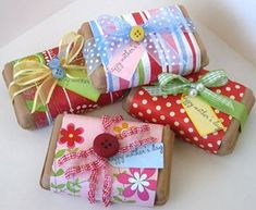 Pretty gift wrapping - brown paper wrapping with scarpbook paper and ribbons and buttons - great way to use up scraps