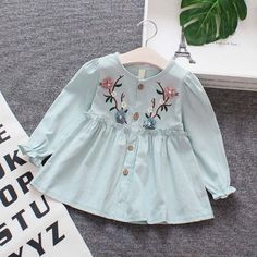 Lovely Flower Embroider Long-sleeve Dress for Baby and Toddler Girl - July 06 2019 at Toddler Girl Outfits, Toddler Fashion, Toddler Dress, Kids Outfits, Baby Girl Frocks, Frocks For Girls, Baby Girl Dresses, Baby Girls, Baby Boy