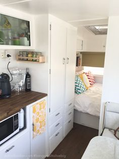 Vintage Home RV, motorhome, camper renovated kitchen - We did it. We took the plunge and moved our family into a tiny (vintage!) house on wheels. Here's why we decided caravan (camper) living is for us, for now. Caravan Renovation, Interior, Camper Organization Travel Trailers, Bedroom Interior, Camper Makeover, House On Wheels