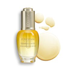 Ideal for reducing wrinkles and providing firmness, radiance and evenness to the skin.  The best way to apply it is by pressing into the skin for optimal absorption.   The Immortelle Divine Youth Oil helps fight visible signs of aging for a skin texture that appears replenished, as if plumped from within.  #loccitane #immortalledivine #youthoil #skincaer #beauty #healthyskin Facial Oil, Facial Skin Care, Loccitane En Provence, Primrose Oil, Orange Oil, Flower Oil, Body Care, Face Care, Essential Oils