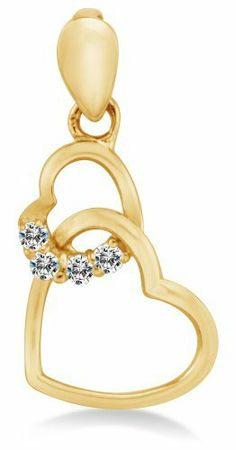 """Solid 14K Yellow Gold Two Connected Love Hearts Highest Quality Round Shape Brilliant Cut CZ Cubic Zirconia Ladies Pendant Charm (Height = 5/8"""" , Width = 3/8"""") Sonia Jewels. $44.00"""