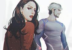 Scarlet Witch and Quicksilver, The Maximoff Twins. He's fast and she's weird.