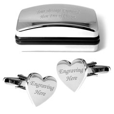 Engraved heart #cufflinks & personalised chrome gift box present #wedding #favour,  View more on the LINK: http://www.zeppy.io/product/gb/2/151251192502/