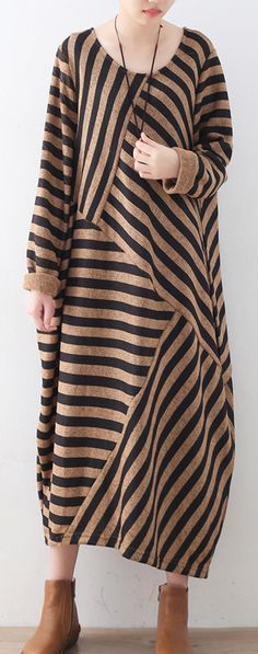 $62.00-khaki striped sweater dress o neck patchwork winter dresses