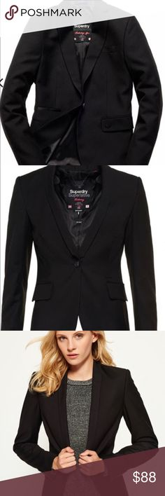 """NWOT Superdry Superlative tuxedo style blazer Brand new, never worn beautiful Superdry women's Superlative tuxedo style blazer. A classic fit blazer perfect for a party or dressing up a casual outfit. Features a single pearlized button fastening, collar with a contrast color under lining, lightly padded shoulders, faux button cuffs, two outer pockets, one inner pocket. 25"""" from collar to hem. Small metallic Superdry logo on the pocket and a logo tab under the collar. 100% guaranteed…"""