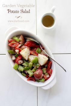 Garden Vetable Potato Salad | www.diethood.com | #recipe #potatosalad #appetizers #salad