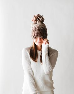 Fair Isle Ombré Knit Slouchy Hat With Pom Pom / THE MINTURN / Linen and Taupe