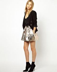 Image 1 of Ganni Skater Skirt in Gold Foil