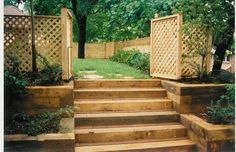 and more retaining walls wood steps landscape timbers wood flowers . Retaining Wall Steps, Backyard Retaining Walls, Backyard Landscaping, Landscaping Ideas, Outdoor Projects, Garden Projects, Outdoor Ideas, Patio Ideas, Back Gardens