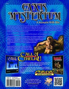 Canis Mysterium: A Scenario With Bite (Call of Cthulhu roleplaying) by Scott Haartman, Meghan McLean, Colin Nitta and Eric York (Oct 8, 2013) | Book cover and interior art for Call of Cthulhu Roleplaying Game - CoC, Basic Role-Playing System, BRP, The Card Game, TCG, Living Card Game, LCG, Miskatonic University, H. P. Lovecraft, fantasy, horror, RPG, Chaosium Inc. | Create your own roleplaying game books w/ RPG Bard: www.rpgbard.com | Not Trusty Sword art: click artwork for source