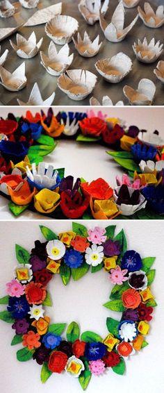 flores con hueveras de carton