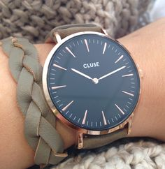 Klaar voor de winter! #cluse #watch #green #rosegold #zusss #braclet #leather